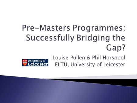 Pre-Masters Programmes: Successfully Bridging the Gap?