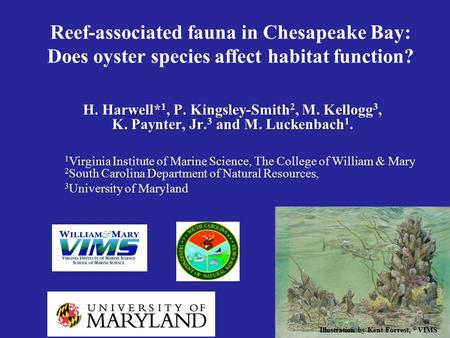 Reef-associated fauna in Chesapeake Bay: Does oyster species affect habitat function? H. Harwell* 1, P. Kingsley-Smith 2, M. Kellogg 3, K. Paynter, Jr.