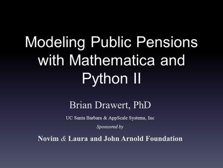 Modeling Public Pensions with Mathematica and Python II
