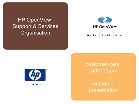 Customer care advantage customer presentation HP OpenView Support & Services Organisation.