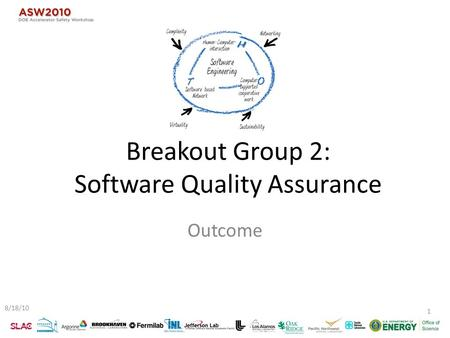 Breakout Group 2: Software Quality Assurance Outcome 8/18/10 1.