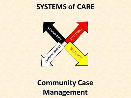 ASSISTANCE COMMUNITY RESOURCES EMPOWERMENT. Case Management Case management is a collaborative service that provides:  Assessment  Planning  Facilitation.
