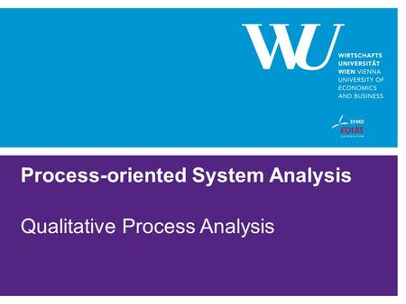 Process-oriented System Analysis Qualitative Process Analysis.