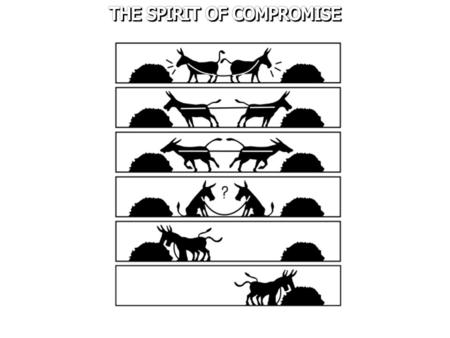 "To compromise means to give up some principle/demand[s] so as to come to an agreement or to maintain peace. Merritt Malloy said, ""Compromise is simply."