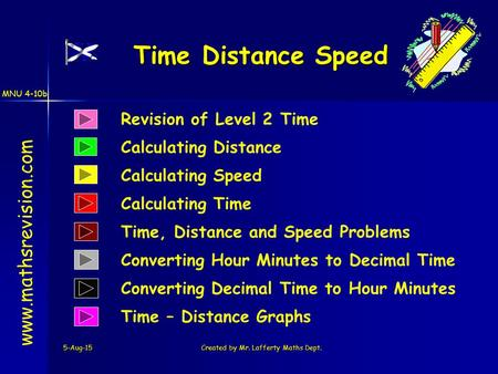 MNU 4-10b 5-Aug-15Created by Mr. Lafferty Maths Dept. Revision of Level 2 Time Calculating Distance Time Distance Speed www.mathsrevision.com Calculating.