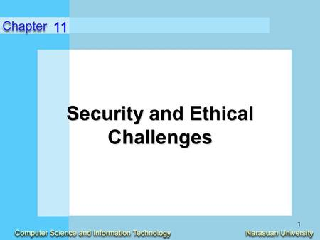1 Security and Ethical Challenges 11. 2 Identify ethical issues in how the use of information technologies in business affects employment, individuality,
