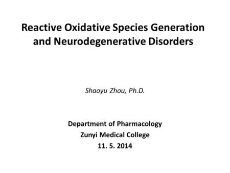 Reactive Oxidative Species Generation and Neurodegenerative Disorders