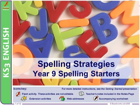 Spelling Strategies Year 9 Spelling Starters