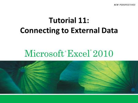 Tutorial 11: Connecting to External Data