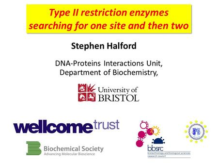 Type II restriction enzymes searching for one site and then two Stephen Halford DNA-Proteins Interactions Unit, Department of Biochemistry,