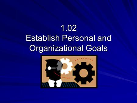 1.02 Establish Personal and Organizational Goals.