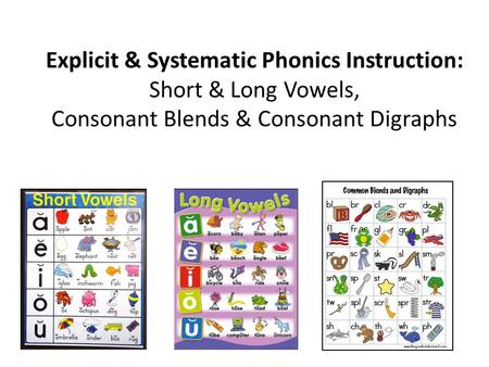 Explicit & Systematic Phonics Instruction: Short & Long Vowels, Consonant Blends & Consonant Digraphs.