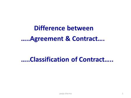 Difference between …..Agreement & Contract…. …..Classification of Contract….. pooja sharma1.