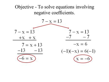 Objective - To solve equations involving negative coefficients.