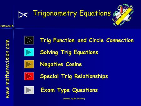Created by Mr. Lafferty Trigonometry Equations www.mathsrevision.com National 5 Solving Trig Equations Negative Cosine Trig Function and Circle Connection.