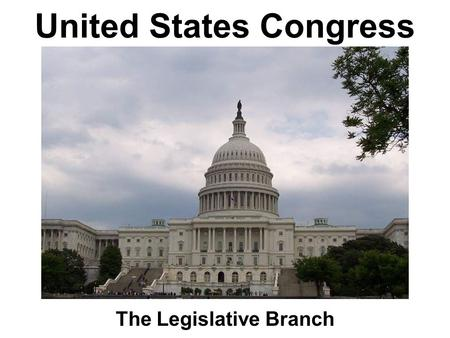 United States Congress The Legislative Branch. Foundations of the US Congress Constitutional Convention (1787) Virginia Plan: representation in Congress.