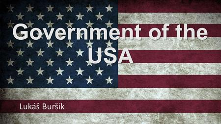 Government of the USA Lukáš Buršík. General principles The United States of America Federation of 50 republics Parliamentary democracy Presidential republic.