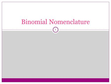 1 Binomial Nomenclature. 2 types of chemical compounds that we will name: Binary ionic - metal ion – nonmetal ion Binary molecular - two nonmetals 2.
