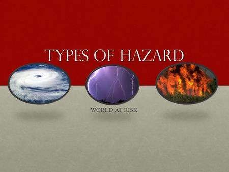 TYPES OF HAZARD WORLD AT RISK. What you should achieve this lesson Know some key terms in relation to the topicKnow some key terms in relation to the.