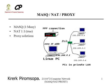Computer Network (MASQ/NAT/PROXY)