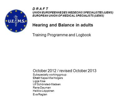 Hearing and Balance in adults