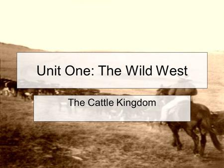 Unit One: The Wild West The Cattle Kingdom. The next mass movement of people into the West was into the Southern Plains area of Texas and surrounding.