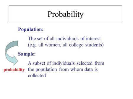 Population: The set of all individuals of interest (e.g. all women, all college students) Sample: A subset of individuals selected from the population.