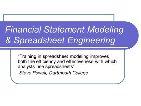 financial statement analysis lecture 4 Financial statement analysis understanding the financial statements of a firm is critical since it is often the only source of information with which we must make investment decisions ie, whether or not to loan the.
