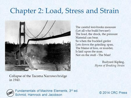 Fundamentals of Machine Elements, 3 rd ed. Schmid, Hamrock and Jacobson © 2014 CRC Press Chapter 2: Load, Stress and Strain The careful text-books measure.