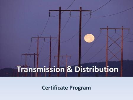 Transmission & Distribution Certificate Program. Course Schedule (tentative) Fall 2007 Session I Aug 27-Oct 22-Transmission Line Design-Introduction -Project.