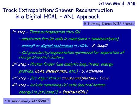 Track Extrapolation/Shower Reconstruction in a Digital HCAL – ANL Approach Steve Magill ANL 1 st step - Track extrapolation thru Cal – substitute for Cal.