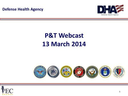 Defense Health Agency 1 P&T Webcast 13 March 2014.