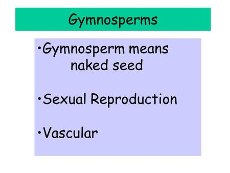 Gymnosperms Gymnosperm means naked seed Sexual Reproduction Vascular.