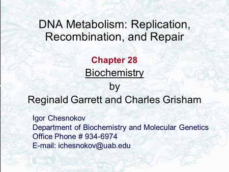 DNA Metabolism: Replication, Recombination, and Repair