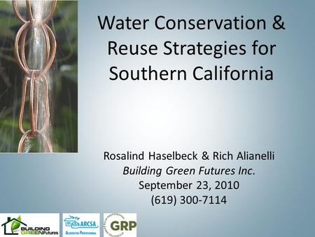 Water Conservation & Reuse Strategies for Southern California