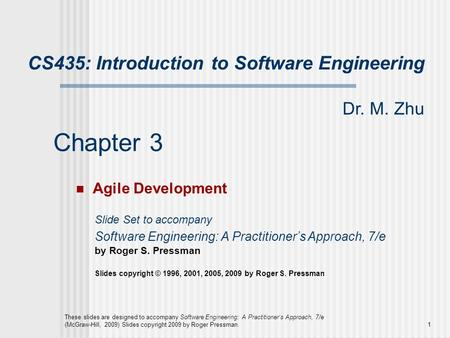 Chapter 3 CS435: Introduction to Software Engineering Dr. M. Zhu