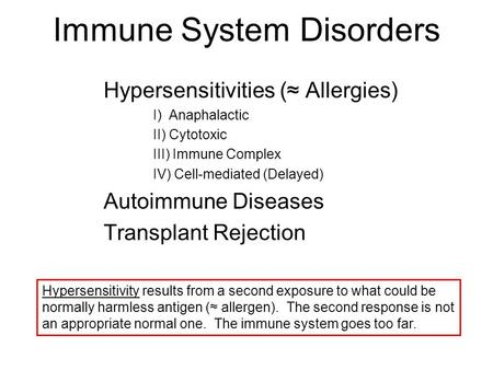 Immune System Disorders Hypersensitivities (≈ Allergies) I) Anaphalactic II) Cytotoxic III) Immune Complex IV) Cell-mediated (Delayed) Autoimmune Diseases.