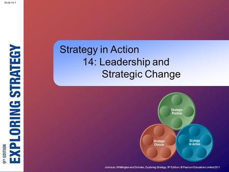 Slide 14.1 Johnson, Whittington and Scholes, Exploring Strategy, 9 th Edition, © Pearson Education Limited 2011 Slide 14.1 Strategy in Action 14: Leadership.