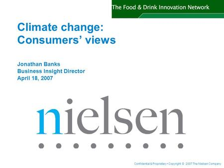 Climate change: Consumers' views