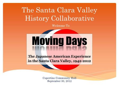 The Santa Clara Valley History Collaborative Welcome To Cupertino Community Hall September 30, 2012.