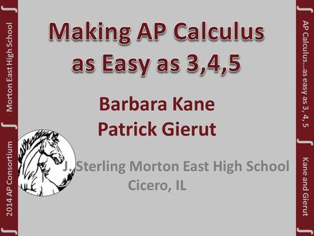 Barbara Kane Patrick Gierut J. Sterling Morton East High School Cicero, IL Morton East High School ∫ 2014 AP Consortium ∫ ∫ ∫ ∫ ∫ Kane and Gierut AP Calculus…as.