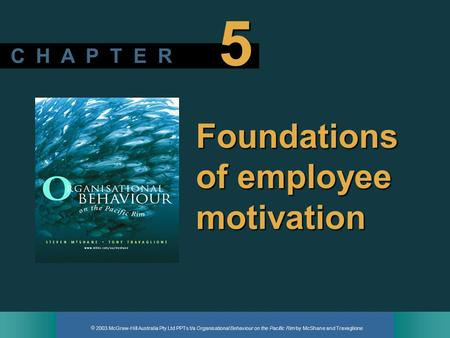  2003 McGraw-Hill Australia Pty Ltd PPTs t/a Organisational Behaviour on the Pacific Rim by McShane and Travaglione C H A P T E R 5 Foundations of employee.