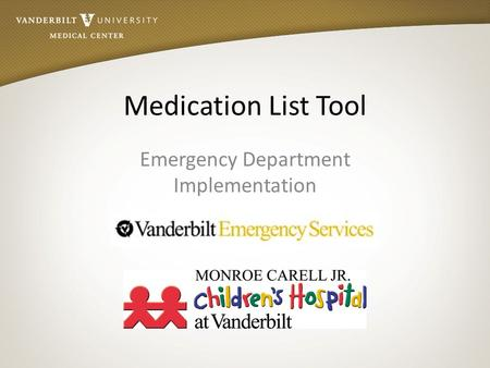 Emergency Department Implementation