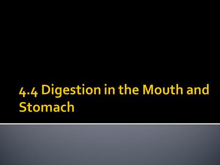 4.4 Digestion in the Mouth and Stomach