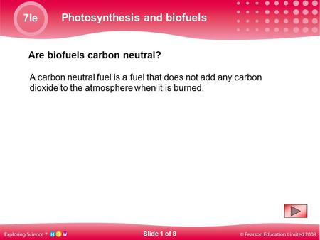 7Ie Photosynthesis and biofuels Are biofuels carbon neutral? A carbon neutral fuel is a fuel that does not add any carbon dioxide to the atmosphere when.