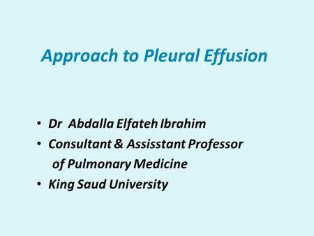 Approach to Pleural Effusion