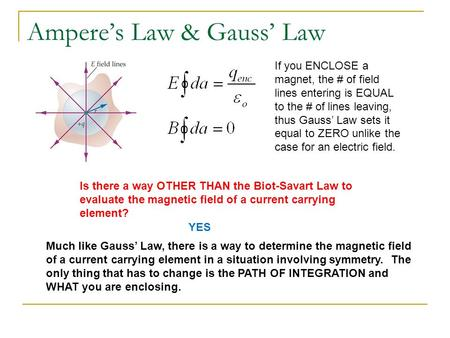 Ampere's Law & Gauss' Law If you ENCLOSE a magnet, the # of field lines entering is EQUAL to the # of lines leaving, thus Gauss' Law sets it equal to ZERO.