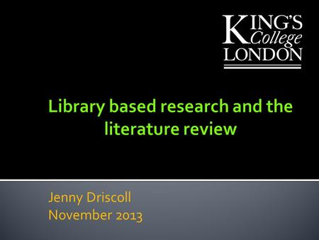 Library based research and the literature review