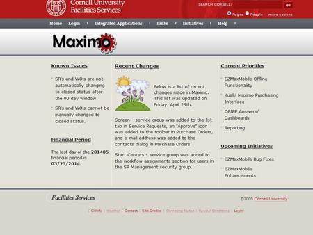 Summary Maximo is an Enterprise Asset Management System used by Cornell University Facilities Services. Many of Cornell's physical assets found across.