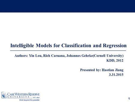 Intelligible Models for Classification and Regression